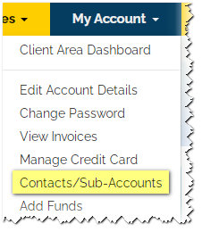 contacts sub-accounts menu choice