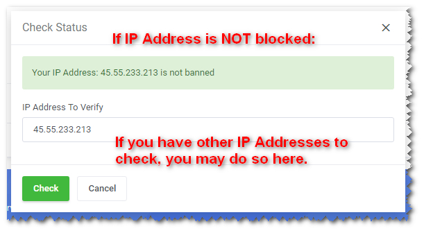 IP Address is Not Blocked